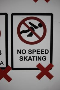 where speed skating is, in fact, forbidden...